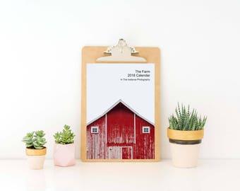 The Farm Desk Calendar, 2018 Photography Farmhouse Iowa Midwest Fine Art Calendar Office Gift for Her 5x7