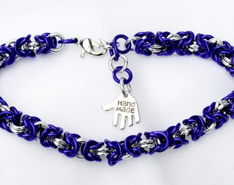 Purple and  silver chainmail single byzantine weave  bracelet