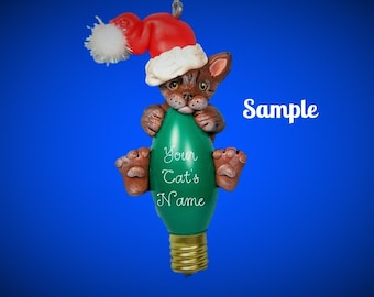 Brown Tabby Santa Cat Christmas Holidays Light Bulb Ornament Sally's Bits of Clay PERSONALIZED FREE with cat's name