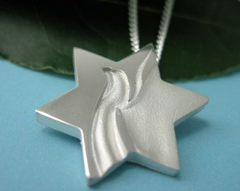 Peace Dove Jewish Star Necklace, Silver Star of David with Chain - Yonatan Collection