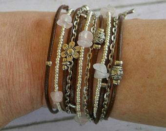 Custom Wrap Bracelet- Brown Leather Bracelet - Best Boho - Rose Quartz Gemstones - Chakra Wrap Bracelet - Choose FOUR Charms - Customizable
