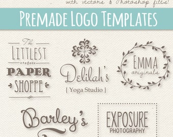 Cute Logo Templates Set 1 // Fully Layered PSD // Editable Vector EPS  // Photoshop Template // Editable Logo Design // Premade Pre made