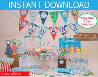 Teddy Bears Picnic Party EDITABLE  Stationery Collection (Boys Colours)