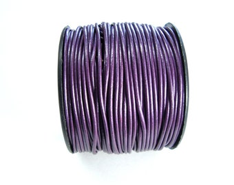 Metallic Berry Round Leather Cord, Leather Cord, 1.5 mm Round Cord, Genuine Leather Cord, Bracelet Necklace Leather