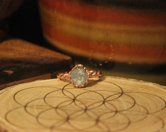 Raw Aquamarine Ring // Electroformed Copper Jewelry // Raw Stone Crystal Ring // Aquamarine Copper Ring