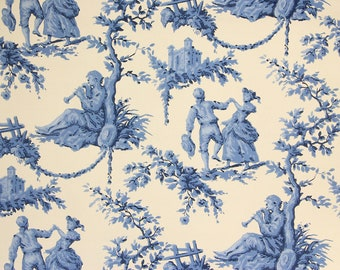 S Vintage Wallpaper Blue Scenic Toile By The Yard
