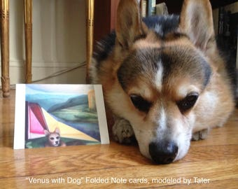 """Art Notecards (Set of 10) - Folded Notecards printed from the original oil painting """"Venus with Dog"""", a Corgi in a geometric landscape"""