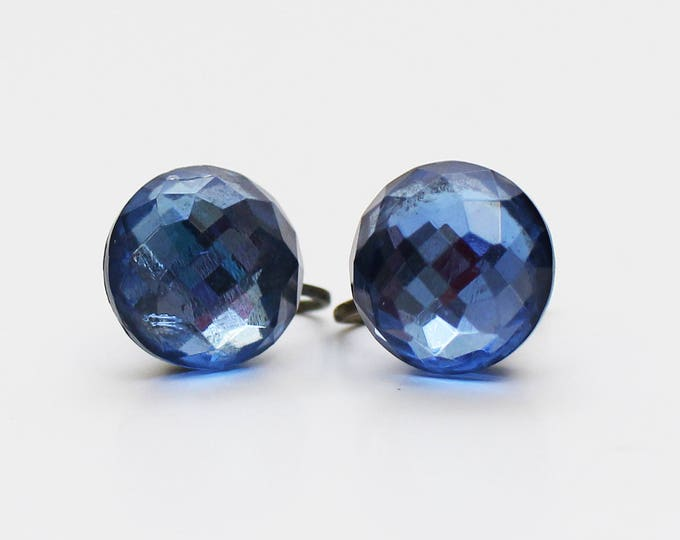 1920s Faceted Sapphire Crystal Earrings - Vintage 1920s Blue Button Screw Back Earrings