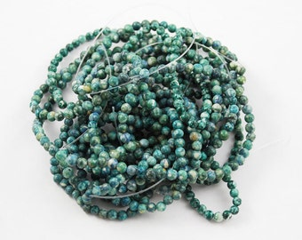 Green Fossil Round Gemstone Beads 4mm Teal Strand