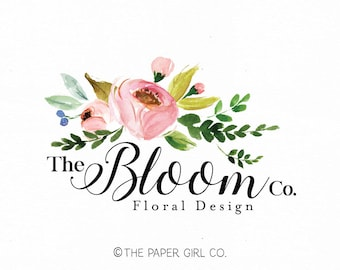 florist logo floral logo flower logo wedding logo event planner logo beauty logo watercolor logo make up logo nail art logo photography logo