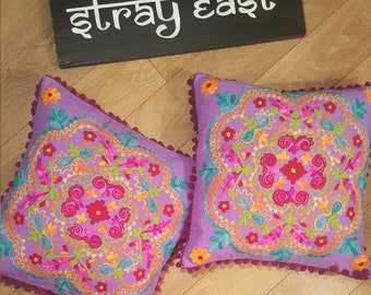 Purple Cushion Cover in Suzani Style with Floral Pattern. Purple, Pink & Yellow