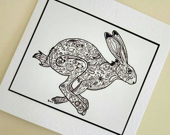 Hare Spring Sprint handmade fine art card from original hare drawing by Bee Skelton. Any occasion birthday gift anniversary thank you