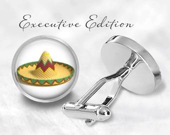 Sombrero Cufflinks - Mexican Sombrero Cuff Links - Festive Cufflink Set (Pair) Lifetime Guarantee (S0817)