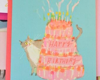 Happy Birthday Cat Card - Pink Cake