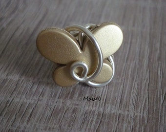 Butterfly gold, light, gold aluminum wire Adjustable ring