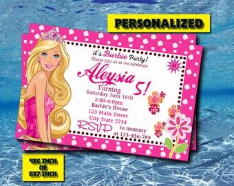 Barbie Invitation,Barbie Birthday Invitation,Barbie Birthday,Barbie Invite,Barbie Party,Barbie Printable,Personalized,Digital Download