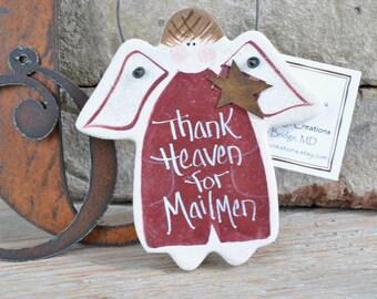 Mailman Birthday Christmas Gift Salt Dough Ornament or Mail Lady