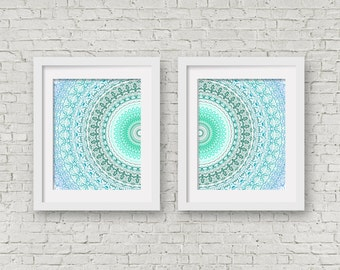Turquoise mandala print wall art set of 2 prints decorative art poster set wall hanging blue decor teal and grey art wall art aqua decor