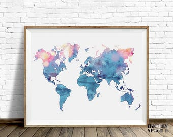 Watercolor world map etsy world map poster blue watercolor world map art push pin map of the world travel map sciox Choice Image