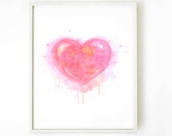 Watercolor Heart, Valentines Gift for Her, Watercolor Print, Nursery Art, Heart Wall Art