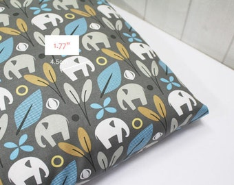 Elephants Cotton Fabric - Gray - By the Yard 43333