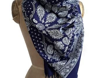 Bandana Print scarf. Paisley bandanna pashmina. Silkscreened linen weave pashmina; choose blue, red, black & more. Western inspired gift.