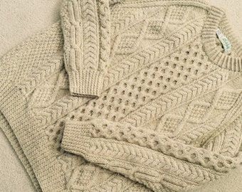 Vintage Wool Cable Hand Knit Fisherman Sweater Beige Made in Donegal Ireland Medium