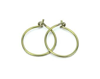 Niobium Hoop Earrings Small Gold Niobium Hoops for Sensitive Ears, Hypoallergenic No Nickel Hoop Earrings, Yellow Gold Niobium Earrings