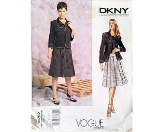 Vogue American Designer 2792 DKNY Donna Karan Suit Jacket and Pleated Skirt Sewing Pattern 3 Sizes UK 8 10 12