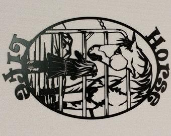 Horse Life Metal Sign, Farming, Little Girl's Horse, Metal Wall Art