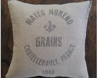Grain Sack Pillow. French Pillow. French Farmhouse. Modern Rustic. Cottage Pillow. French Country Decor. Modern Farmhouse Pillows.