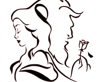 SVG File Of Beauty And Beast Silhouette