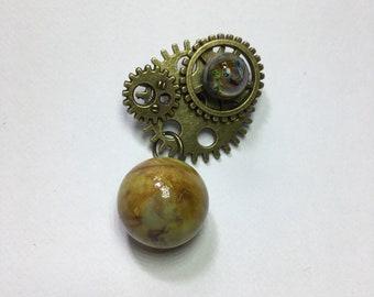 Brooch steampunk, brooch lampwork