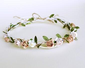 Rustic hair wreath, Bridal crown, Wedding headpiece, Ivory cappuccino hairpiece, Flower hair accessories, Wedding halo