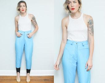 Blue Ski Pants // 80s 90s High Waist Ossi Skiwear // Retro Snowbird Stirrup Light Blue Outerwear Size 6 8 Small