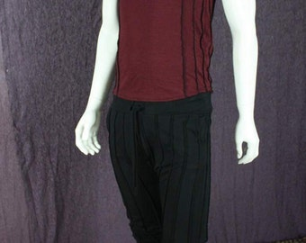NEW!!!  Mens Verticle Striped Tank Top in Deep Port Red Organic Bamboo Fabric