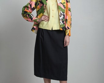 skirt set vintage 70s 3-piece yellow top black skirt floral print jacket poly knit L XL LARGE - Extra Large