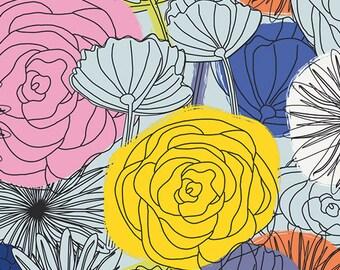 Fun fabric, Bright Fabric, Boho fabric, Happy fabric, Here Comes the Fun, Caroline Huse, Bloom Montage Intense, Choose the cut