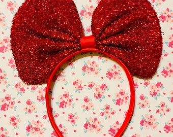 Cute Holiday Red Sparkle Minnie Mouse Bow inspired Headband