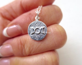 Triple Goddess Amulet Necklace - Solid 925 Sterling Silver Charm - Insurance Included