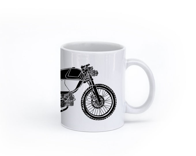 KillerBeeMoto: U.S. Made Coffee Mug  Rogue Builds Moped Cafe Racer Coffee Mug (White)