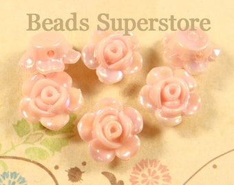 13 mm x 8 mm Pink AB Resin Flower Bead - 10 pcs