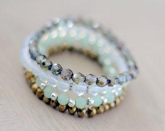 Gemstone Stack Bracelet - Set of Four Stretch Bracelets  - Bohemian Crystal Jewelry - Boho Beaded Bracelets