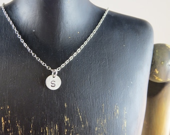 Personalized sterling silver necklace, initial disc necklace, charm necklace, bridesmaid gift, friendship gift, personalized whimsies
