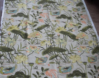 Vintage Upholstery Fabric, with Tropical Birds,Flowers,Water Plants