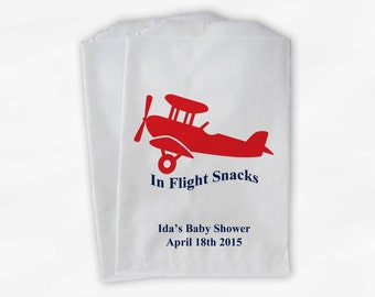Personalized Airplane Party Candy Favor Bags - In Flight Snacks Custom Treat Bags for Baby Shower - 25 Paper Bags (0018)