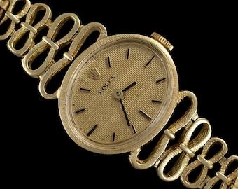 1980's Rolex Ladies Vintage Dress Bracelet Watch - 14K Gold