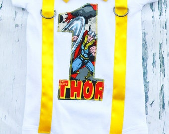 Thor Theme, Marvel Super Hero Bow tie and Suspenders set, Boy Cake Smash, Boy first year outfit, Boy number 1, Boy birthday, Boy Second