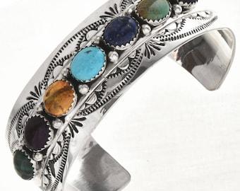 Native American Gemstone Bracelet Hammered Silver Cuff