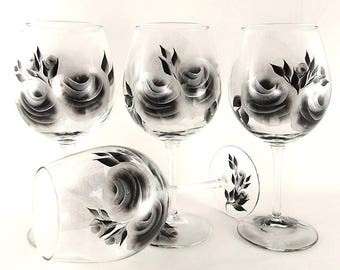4 Hand-Painted Modern Wine Glasses Black and Silver Roses 25th Anniversary Glasses Birthday Wine Gifts Under 100 Housewarming Gifts